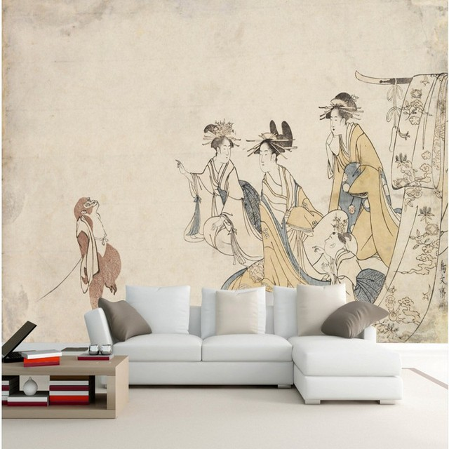 Free Shipping An Ancient Painting Kimono Beauty Monkey Tv Backdrop Living Room Mural Wallpaper Home Decoration