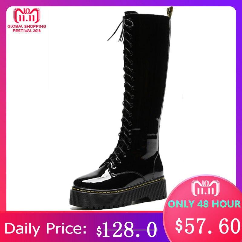 MORAZORA 2018 hot sale genuine leather knee high boots women round toe autumn boots zipper +lace up punk platform shoes woman