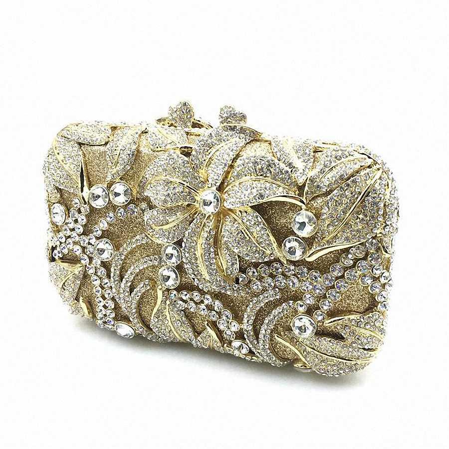 Thời trang Phụ Nữ Vàng Mạ Rose Flower Hollow Out Pha Lê Evening Kim Loại Ly Hợp Nhỏ Minaudiere Túi Xách Wedding Clutch LI-1559