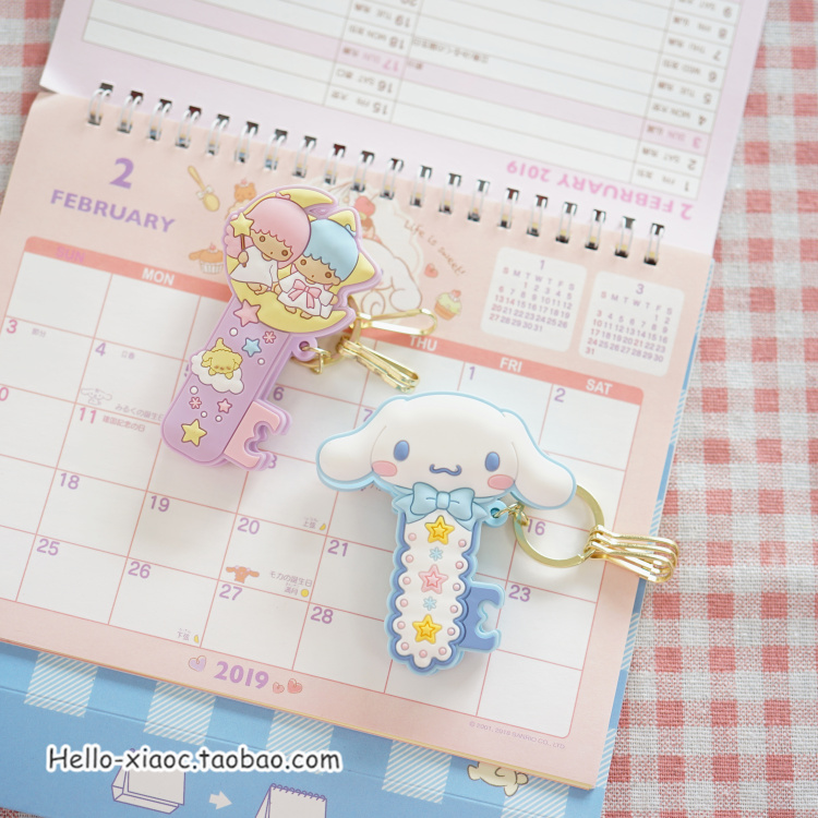1pc Cute My Melody Twin Stars Cinnamoroll Shape Action Figure Dolls Pudding Dog Keychain Little Twin Stars Clips Keyring Decor