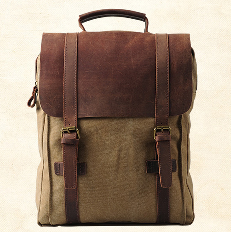 2018 Fashion Backpack Canvas Leather Men Backpack Military Canvas School Backpack men Rucksack male Knapsack Women