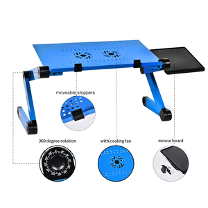 Image 2 - Depo dizüstü bilgisayar masası taşınabilir katlanabilir bilgisayar masası yatak Laptop standı tepsisi masası soğutma fanı ile Mouse Pad