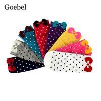 Goebel Mujer Calcetines de Moda Lindo Patrón de Punto Señoras Calcetines de Algodón Pajarita Calcetines Cómodos de Las Muchachas Populares 3 par/lote