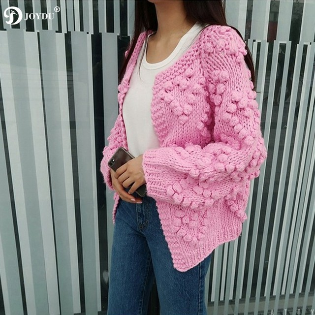 aef0196d0 JOYDU Cropped Cardigan Poncho Winter Women Sweater 2018 New Lantern ...