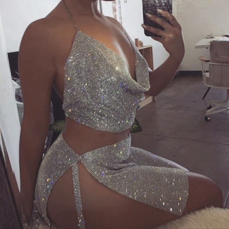 Sexy Rhinestone Outfits Backless Halter Women Sets Metal -3250