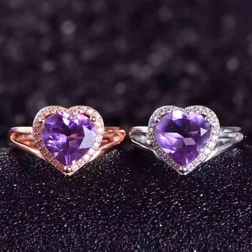 Lady Genuine Natural amethyst stone ring 925 sterling silver Women Madam crystal gem Jewelry rings