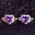 Señora Genuina amatista Natural de piedra anillos de La Joyería anillo de plata de ley 925 Mujeres de Señora crystal gem