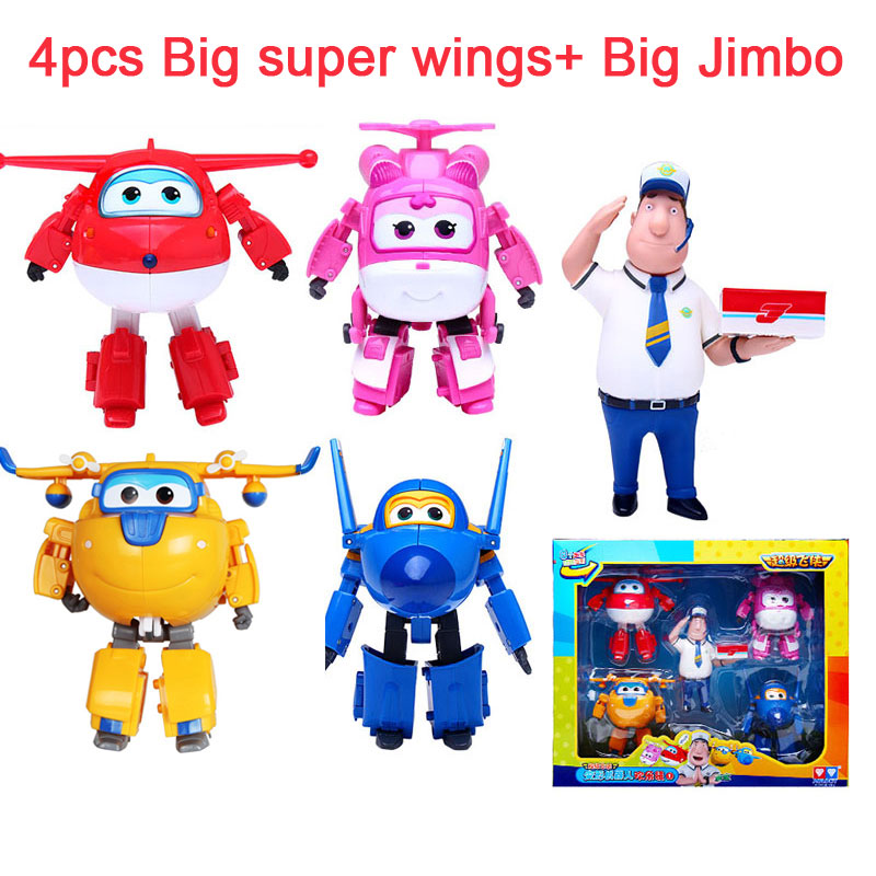 5pcs/set Big Super Wings Deformation Airplane Robot Action Figures Super Wings Transformation Jet toys for children gift