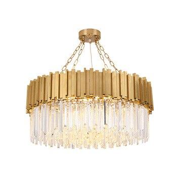 2019 nova lâmpada de cristal moderna led lustre sala estar hall do hotel luxo ouro redondo aço inoxidável corrente iluminação lustre