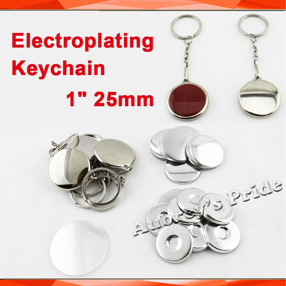 NEW Professional 1 25mm 100 Sets One Side Electroplating Keychain Button Parts Button Maker Supplies Materials