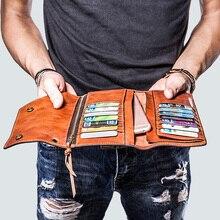 Mannen Lange Portefeuilles Retro Mobiele Telefoon Tas, Ultra Dunne Card Purse Clutch Bag, handgemaakte Volledige Lederen Koe Lederen Mannen