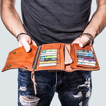 Mens Long Wallets Retro Mobile Phone Bag, Ultra thin Card Purse Clutch Bag, Handmade Full Genuine Leather Cow Leather Men
