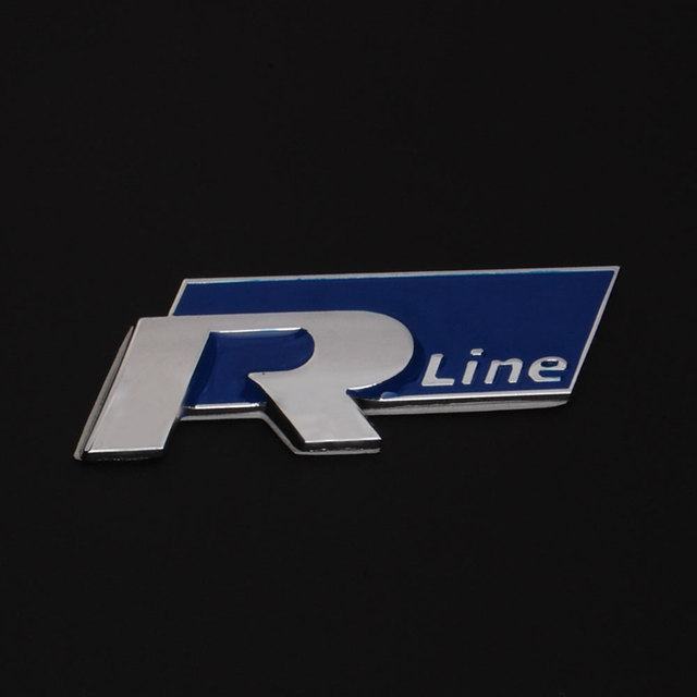 3d blue r line symbol car metal alloy emblem badge sticker for vw golf passat