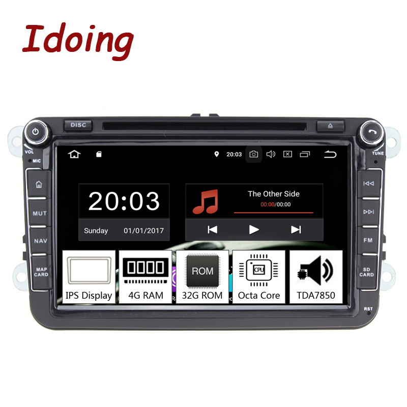 Idoing 82Din Car Android 8.0 Radio Player For Volkswagen Skoda Seat PX5 4GB+32G Octa Core IPS screen GPS Navigation Multimedia
