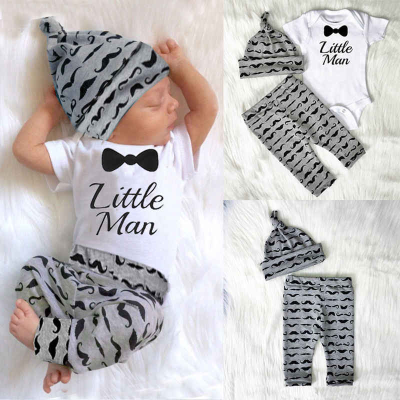 3pcs Newborn Baby Boys Little Man Romper+Pants+Hat Jumpsuit Outfits Set Cotton Clotehs 0-18M