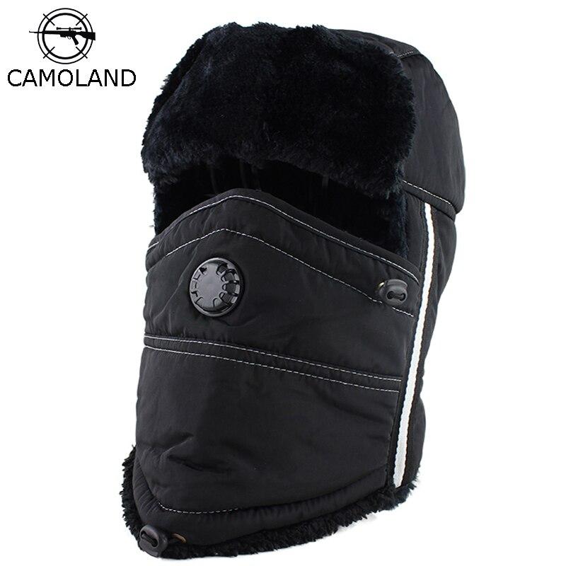 Winter Trapper Trooper Hat Men Women Thermal Bomber Hat With Scarf Anti-haze Mask Russian Ushanka Earflap Snow Ski Balaclava