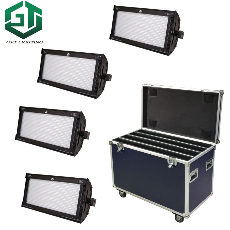 Flightcase packing 4pcs/lot 1000W LED RGB Strobe Light Professional Strobe Lighting Stage Party Bar Music Active DMX 512 control