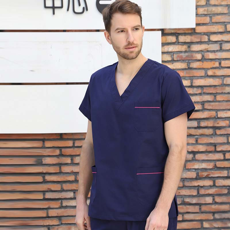 Men's Medical Uniforms Pure Cotton V Neck Scrubs Top Doctor Color Blocking Shirt Workwear( Just A Top)