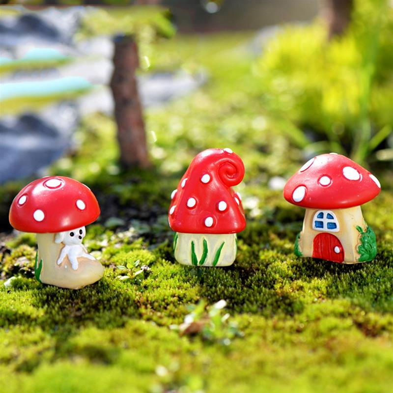 3Pcs/Set Cute Cartoon Red Mushroom House 3 Types DIY Resin Fairy Garden Craft Decoration Miniature Micro Gnome Terrarium Gif