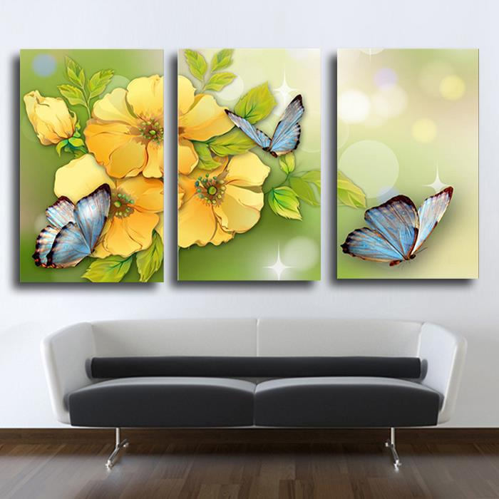 3 Piece Yellow Flower And Butterfly Modern Home Wall Decor Canvas ...