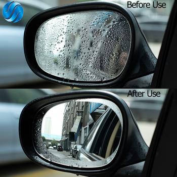 Hippcron Anti Fog lusterko samochodowe naklejka na samochodowe lusterko wsteczne okno ochronne przezroczysta folia filmowa wodoodporna naklejka samochodowa 2 sztuk zestaw tanie i dobre opinie Inne Klej naklejki 9 5cm 0 2cm 10cm Protective film Nie pakowane