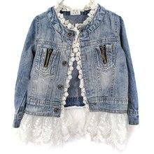 Весенне-осенние модные джинсовые куртки для девочек детское кружевное пальто джинсовые куртки на пуговицах с длинными рукавами верхняя одежда для девочек, От 2 до 7 лет