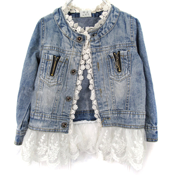 Spring Autumn Girls Fashion Jean Jackets Kids Lace Coat Long Sleeve Button Denim Jackets Outwear For Girls 2-7Y