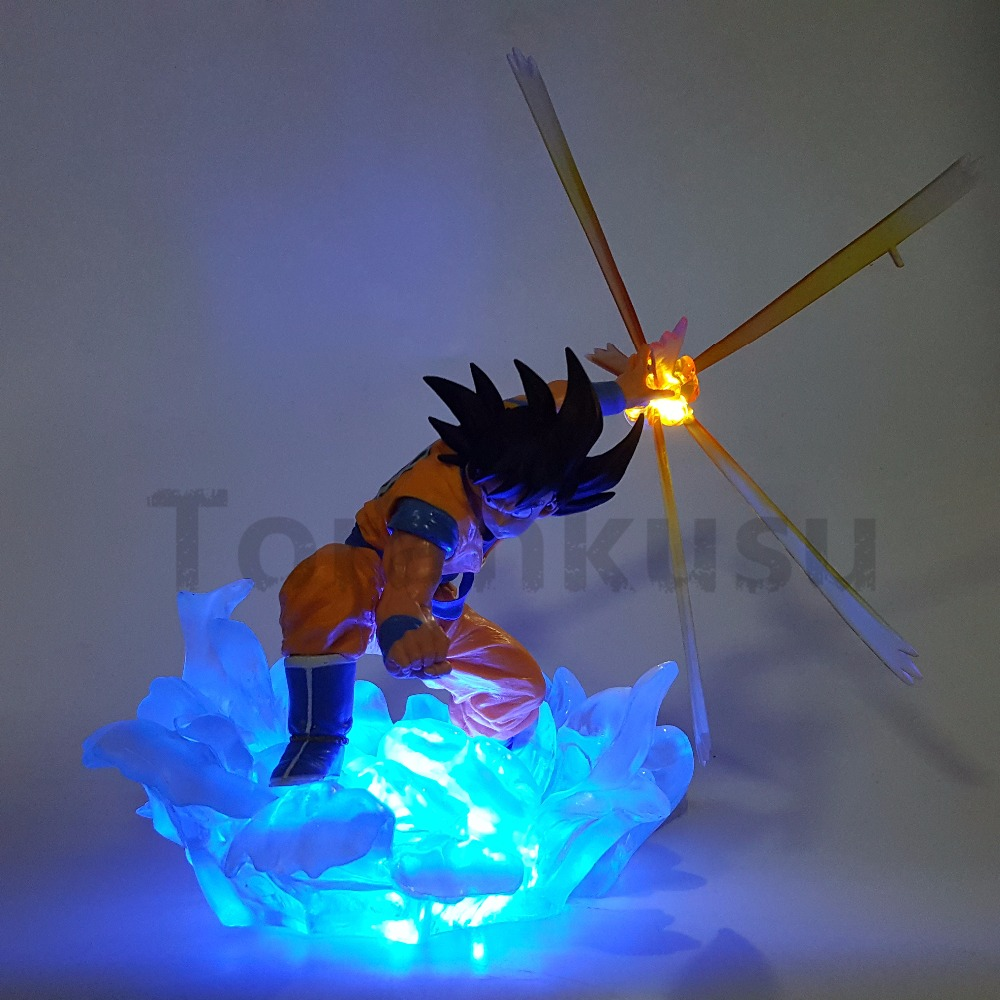 Dragon Ball Z Son Goku Action Figure Super Saiyan Kamehameha Led Light Anime Dragon Ball Z DBZ Collection Model Toy Son Goku dragon ball z god goku super saiyan led light action figures anime dragon ball z dbz fes god son goku table lamp room decor
