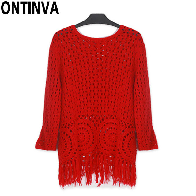 2018 Fashion Plus Size Fringe Red Sweaters Women Knitted Crochet Hollow Out  Tunics Pullover Tricot Jumper Oversized Pull Femme b5b93368a