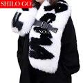 2016 inverno moda feminina de alta qualidade modelos Europeus passarela preto branco mão-esculpido letras fivela de cinto de pele de raposa naturais xale