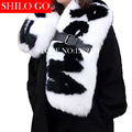 SHILO GO  winter women high quality European catwalk models black white hand-carved letters belt buckle natural fox fur shawl
