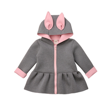 Kids Autumn Winter Outerwear Baby Girl Bunny Hooded Coat Jacket