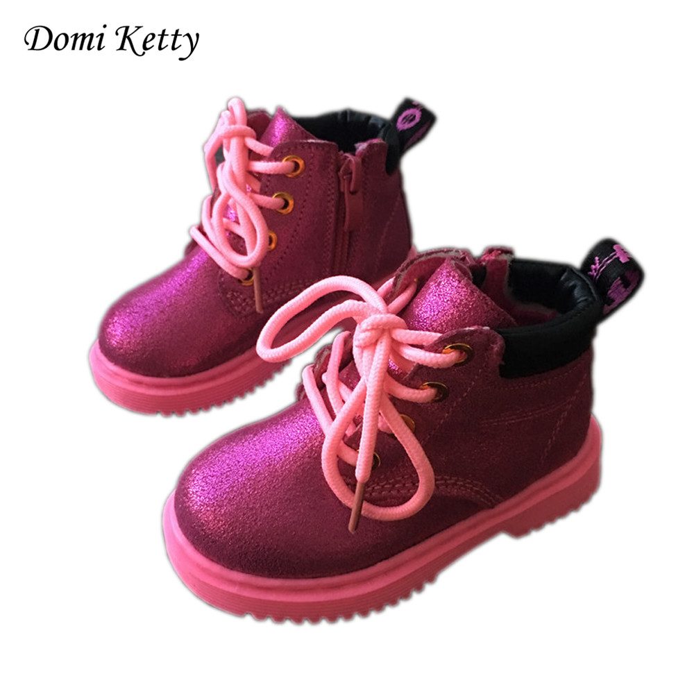 Domi Ketty children genuine leather shoes cute rose red baby girls martin boots for boy shoes fashion winter kids snow boots