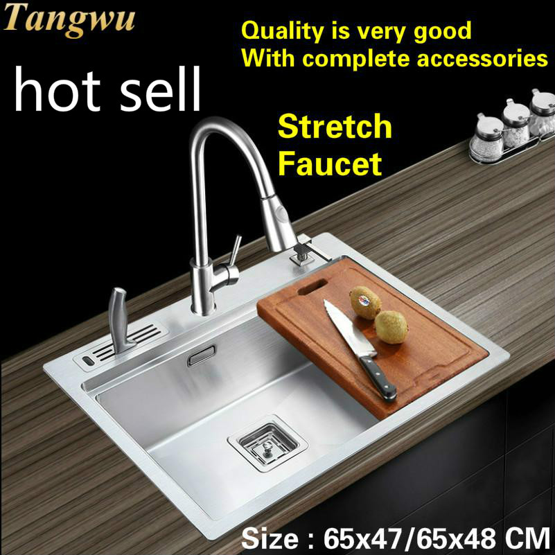 Free Shipping Luxury Kitchen Manual Sink Single Trough Wash The Dishes 304 Stainless Steel Hot Sell 65x47/65x48 CM