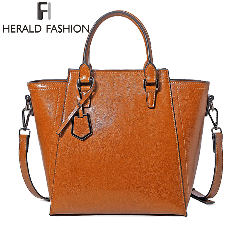 Herald Fashion Genuine Leather Women Handbags Cowhide Large Capacity Tote Bag Ladies Luxury Shoulder Bag Female Crossbody Bag herald fashion women handbags large capacity tote bag high quality pu leather shoulder bag causal ladies crossbady bag