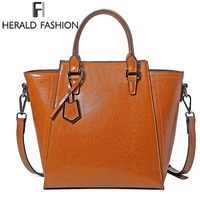Herald Fashion Genuine Leather Women Handbags Cowhide Large Capacity Tote Bag Ladies Luxury Shoulder Bag Female