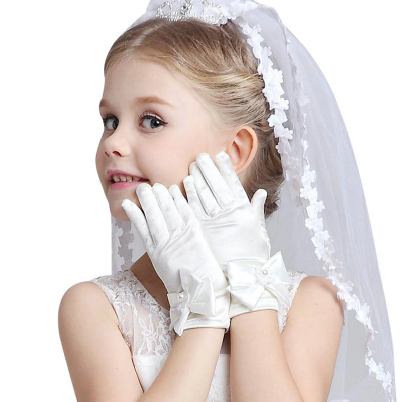 Infant Baby Children Girls Pageant Dance Princess Birthday Party Gloves White Bowknot Lace Flower Wedding Glove Age 3~8 Years