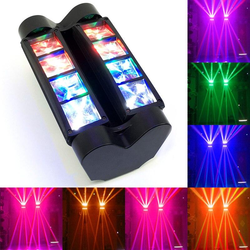 8 глаза Мини светодиодный Луч 8x6 Вт паук RGBW Луч светодиодный DMX профессиональной освещения этап диско вечерние DJ огни ...