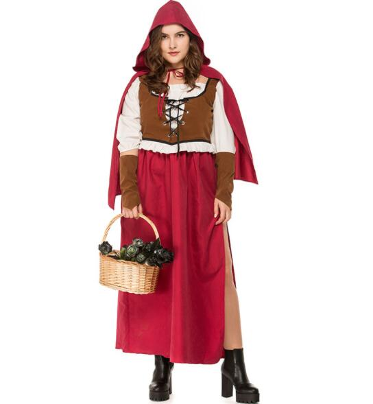 plus size Adult queen nightclub Women Halloween Costume Little Red Riding Hooded Robe Lady Embroidery Dress Party Cloak Out A066
