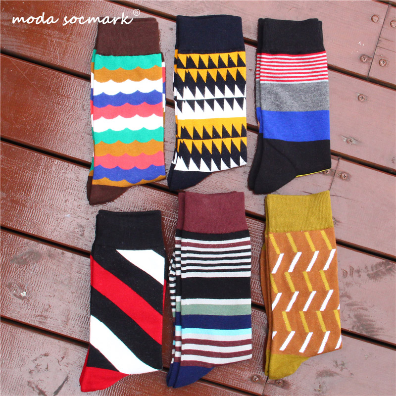 Moda Socmark 2019 Hot Sale Happy Socks Men Combed Cotton Funny Autumn New Arrival Colorful Geometry Gift For