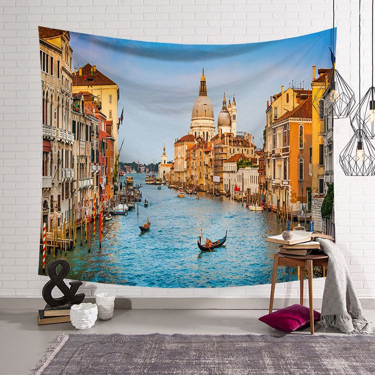 Image 5 - CAMMITEVER Greece Blue White Town European Culture Holiday Tapestries Beautiful Scenery Hippie Wall Hanging Tapestry Home Decor-in Tapestry from Home & Garden