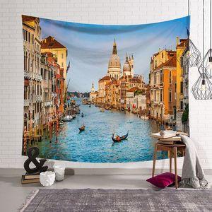 Image 5 - Cammitever 그리스 블루 화이트 타운 유럽 문화 휴일 태피스 트리 아름다운 풍경 히피 벽 매달려 태피스 트리 홈 장식