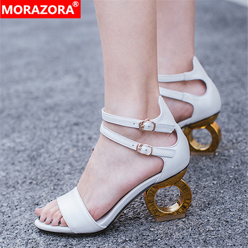 MORAZORA 2019 new fashion genuine leather shoes women unique high heels sandals buckle elegant summer sandals women party shoesMORAZORA 2019 new fashion genuine leather shoes women unique high heels sandals buckle elegant summer sandals women party shoes