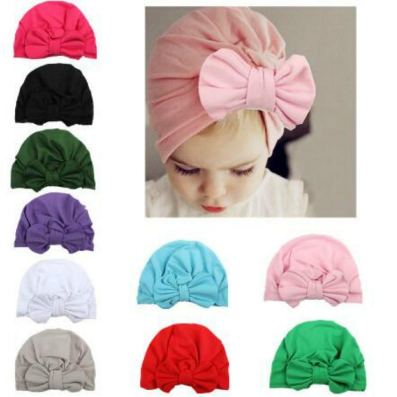 1pcs Chosen Girls Boys Soft Turban Bowknot Cap   Beanie   Hat Muslim India Hat Bohemian Bows Hat