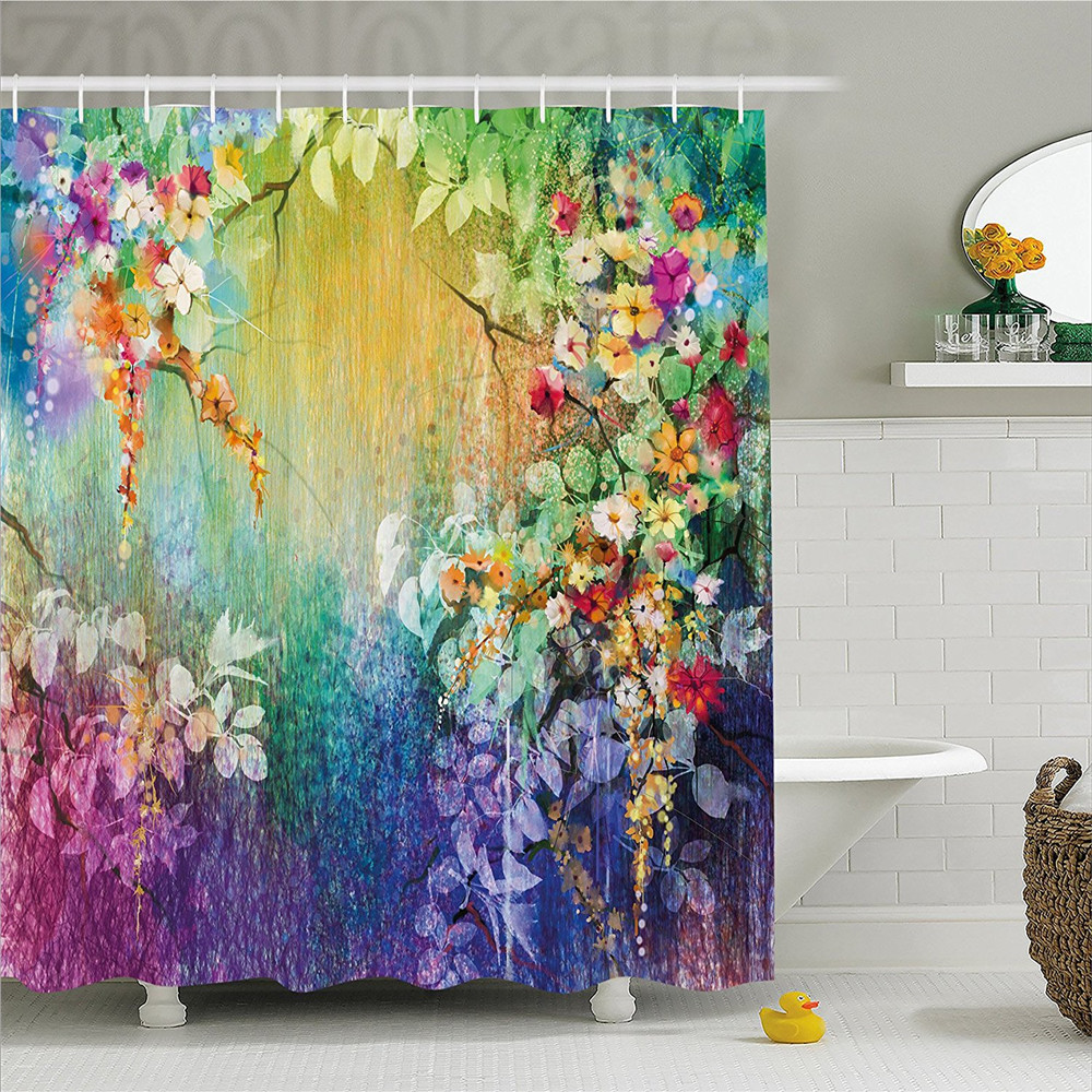 Watercolor Flower Home Decor Shower Curtain Fairy Floral Wisteria Lush  Foliage Supreme Feminine Old Fashion Art Bathroom Decor S In Shower Curtains  From ...