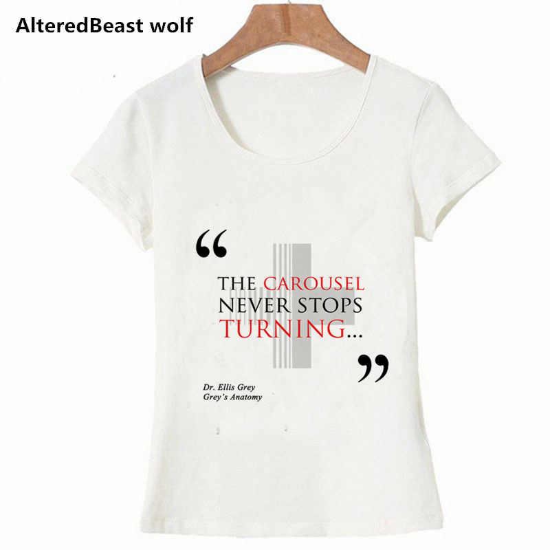 ef3cf76b Greys Anatomy Women White T Shirt The carousel never stops turning printed  Tshirt Casual Summer Tops