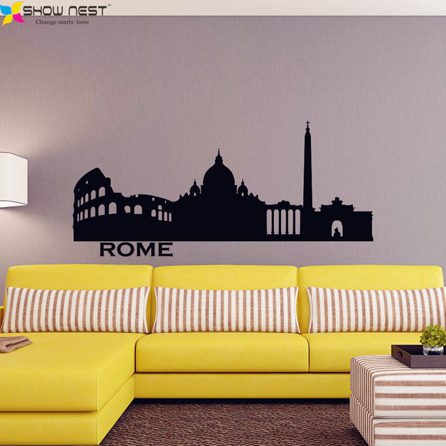 Online Shop Italy Rome Skyline Wall Decal City Silhouette Vinyl ...