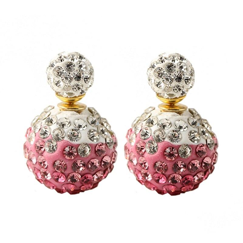 2015 New Fashion Rhinestone Shamballa Earrings Double Sided Earring Pearl Candy Color Stud Earrings For Women E1437-E1446