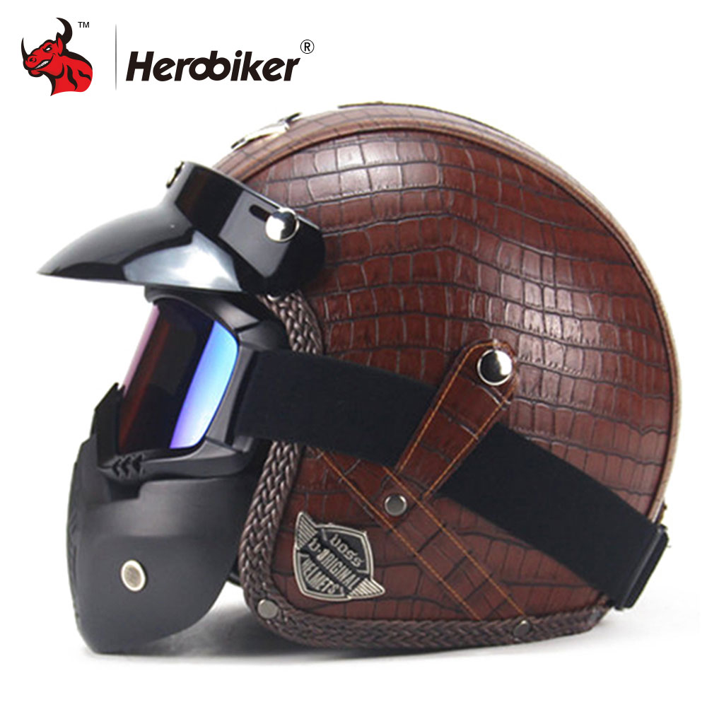 New Motorcycle Helmet Retro Vintage Synthetic Leather Open Face Helmet Motorbike Scooter Cruiser Chopper Casco Moto Helmet DOT new german vintage style motorcycle helmet cruiser scooter touring half helmet dot retro motorbike capacete casco moto helmet