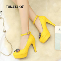 Women Buckle Comfortable Platform Thick High Heel Pumps Fashion Sweet Bow Knot Bling Dress Shoes Pink Yellow White